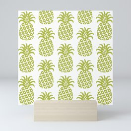Retro Mid Century Modern Pineapple Pattern Olive Green Mini Art Print