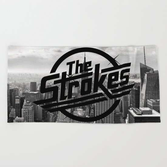 The Strokes Logo New York Black And White Beach Towel
