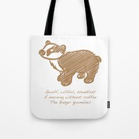 badger Tote Bags featuring Badger by Gothic Panda