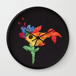 gold fish embroidery Wall Clock