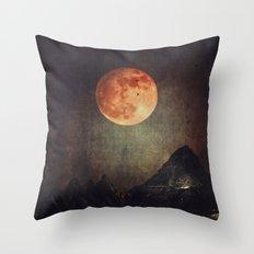 Moon over Dark Mountains Throw Pillow