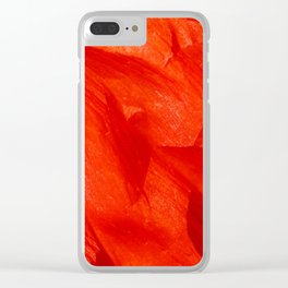 Crumpled Poppy Petal in Red Soft Flake Pattern Clear iPhone Case