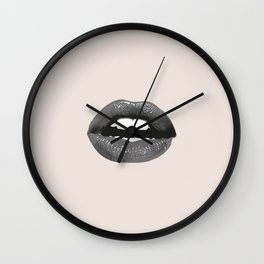 Lips in the nude Art Graphic Illustration Wall Clock