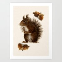 squirrel Art Prints featuring Squirrel by Heaven7