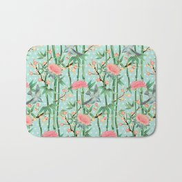 Bamboo, Birds and Blossom - soft blue green Bath Mat