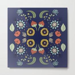 Flora Pattern I Dark Metal Print