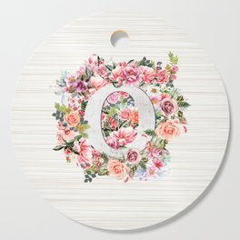 Initial Letter O Watercolor Flower Cutting Board