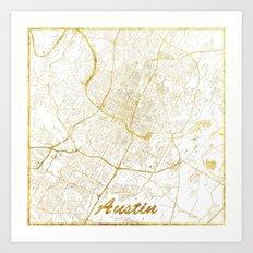 Austin Map Gold Art Print