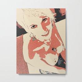 Devil in her eyes, angel blonde girl Metal Print