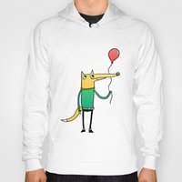 baloon Hoodies featuring Fox & Baloon by Pedro Vilas Boas