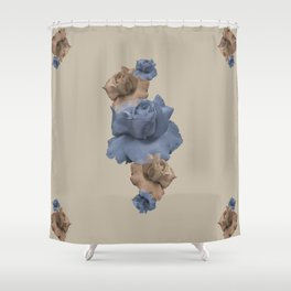 Glitch Roses Gold Shower Curtain