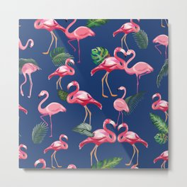 Flamingos Love Pattern 8 Metal Print