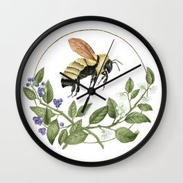 Bombus & Blueberries Wall Clock