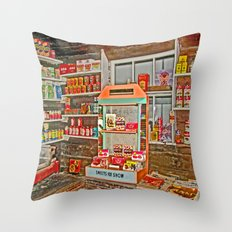 The Old Corner Shop. Throw Pillow