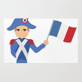 Soldier holding the French flag - Bastille Day Rug