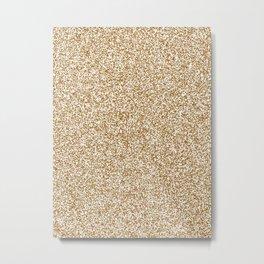 Spacey Melange - White and Golden Brown Metal Print