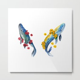 Watercolor whale and red and yellow flowers Metal Print