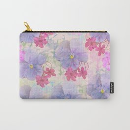 Painterly purple pansies and pink Oxalis Carry-All Pouch