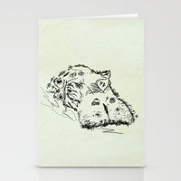 hippo Stationery Cards featuring Hippo by Julia Kisselmann