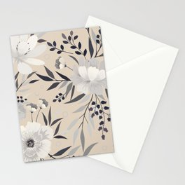 Modern, Boho, Floral Prints, Beige, Gray and White Stationery Cards