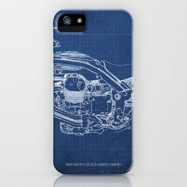 2010 Moto Guzzi Griso1200 8V, motorcycle blueprint, blue poster,milimiter,original poster,giftforhim iPhone Case
