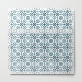 Portuguese Tiles of the Algarve in White with Glitch Metal Print