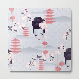 Hanami Cherry Blossoms At Dawn Metal Print
