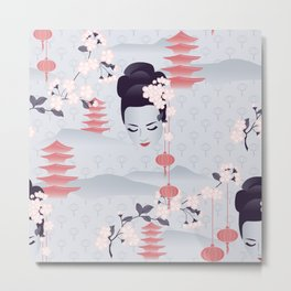 Hanami Cherry Blossoms At Dawn Metal Print