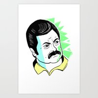 ron swanson Art Prints featuring Ron Swanson.  by The Half Guava