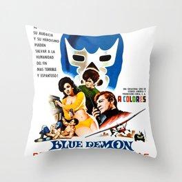 Blue Demon destructor de espias, 1968 (Vintage Movie Poster) Throw Pillow