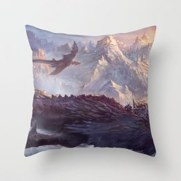 Phenomenal Armored Knights Riding Flying Dragons Ancient Kingdom Ultra HD Throw Pillow