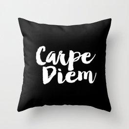 Carpe Diem black and white typography poster black-white design home decor bedroom dorm wall art Throw Pillow