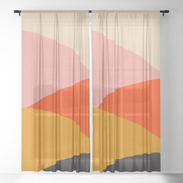 Retro Sun and Waves Print,70's home decor,Mid Century Wall Art,Retro Wall Art, 70's decor Sheer Curtain