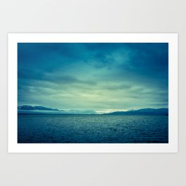 Surreal view of Bodensee (Lake Constance) with the Alps in the background Art Print