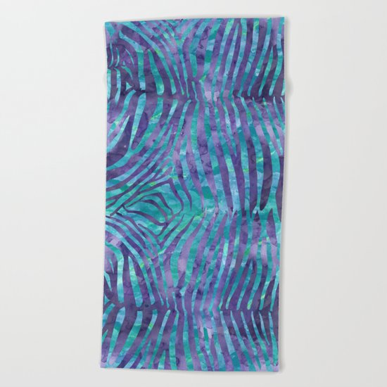 Blue Zebra Print Beach Towel
