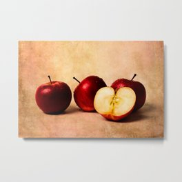 Three red apples and a half Metal Print