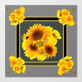 YELLOW SUNFLOWER BOUQUETS GREY ART Canvas Print