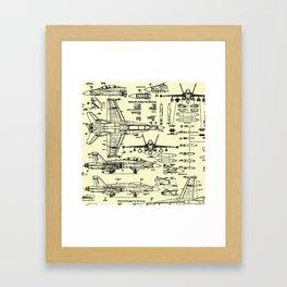 F-18 Blueprints // Parchment Framed Art Print