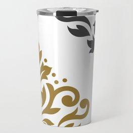 Scroll Damask Art I Gold & Grey on White Travel Mug