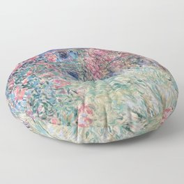 The House among the Roses by Claude Monet Floor Pillow