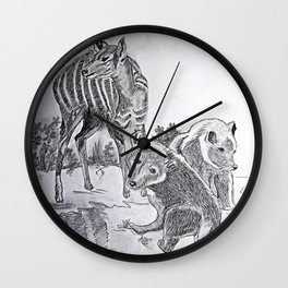 Deer Mom and the Bear cubs Wall Clock