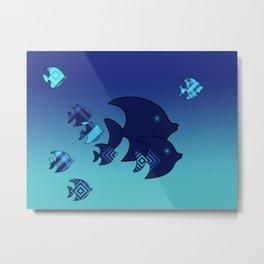 Nine Blue Fish with Patterns Metal Print