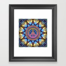 Groovy Hippie Love Mandala Framed Art Print