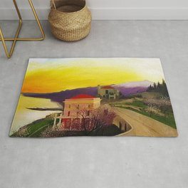 Coast of Sicily and Mount Etna springtime landscape painting by Csontváry Kosztka Tivadar Rug