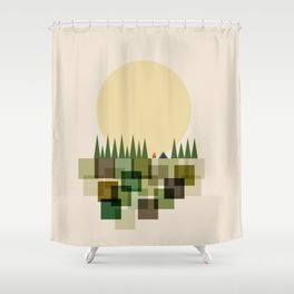 Camping By The Moon Shower Curtain