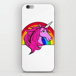 Colorful Cartoon Unicorn Rainbow - Pink iPhone Skin