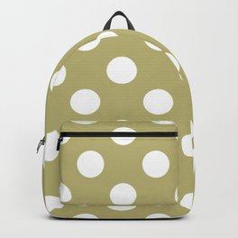 Misty moss - grey - White Polka Dots - Pois Pattern Backpack