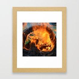 fire in a hollow log Framed Art Print