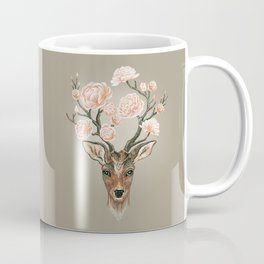Deer and Peonies Coffee Mug
