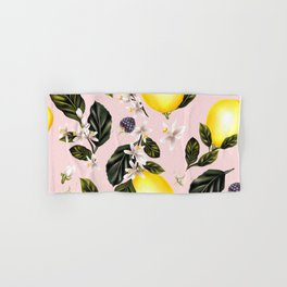 Citrus paradise. Tropical pattern with lemons Hand & Bath Towel
